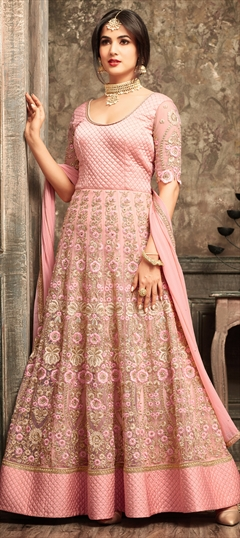 903463 Pink and Majenta  color family Anarkali Suits in Net fabric with Machine Embroidery,Resham,Sequence,Stone,Thread,Zari work .