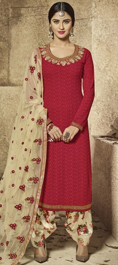 903699 Red and Maroon  color family Pakistani Salwar Kameez in Faux Georgette fabric with Machine Embroidery, Resham, Thread, Zari work .