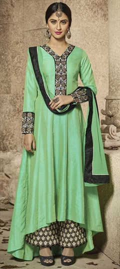 903700 Green  color family Anarkali Suits in Banarasi Silk fabric with Machine Embroidery, Resham, Zari work .