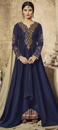 903703 Blue  color family Party Wear Salwar Kameez in Art Silk fabric with Machine Embroidery,Resham,Sequence,Thread,Zari work .