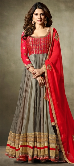 903827 Multicolor  color family Anarkali Suits in Georgette, Jacquard fabric with Bugle Beads, Machine Embroidery, Resham, Thread work .