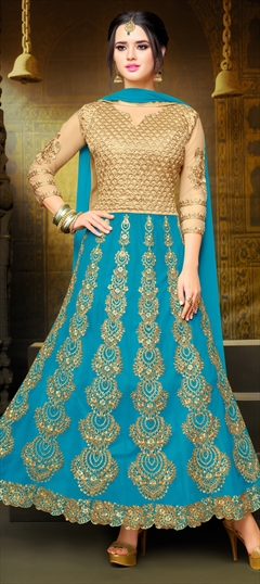 904122 Beige and Brown, Blue  color family Anarkali Suits in Art Silk, Net fabric with Machine Embroidery, Stone, Thread, Zari work .
