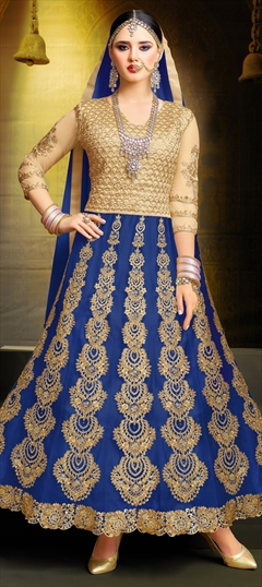 904124 Beige and Brown, Blue  color family Anarkali Suits in Art Silk, Net fabric with Machine Embroidery, Stone, Thread, Zari work .