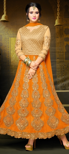 904127 Beige and Brown, Orange  color family Anarkali Suits in Art Silk, Net fabric with Machine Embroidery, Stone, Thread, Zari work .