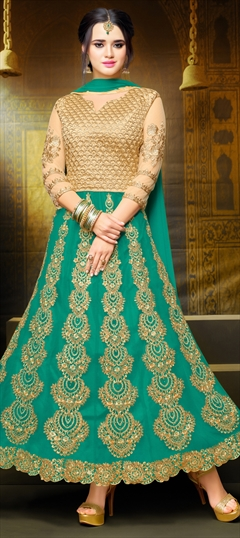 904128 Beige and Brown,Green  color family Anarkali Suits in Art Silk,Net fabric with Machine Embroidery,Stone,Thread,Zari work .