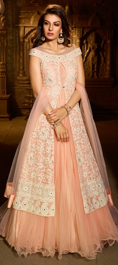904284 Pink and Majenta  color family Anarkali Suits in Net fabric with Mirror, Resham, Stone, Thread work .
