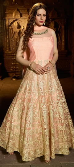904285 Pink and Majenta  color family Anarkali Suits in Net fabric with Cut Dana, Kasab, Machine Embroidery, Moti, Resham, Stone work .