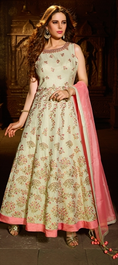 904286 Beige and Brown, Pink and Majenta  color family Anarkali Suits in Shimmer fabric with Cut Dana, Kasab, Resham, Stone, Thread work .