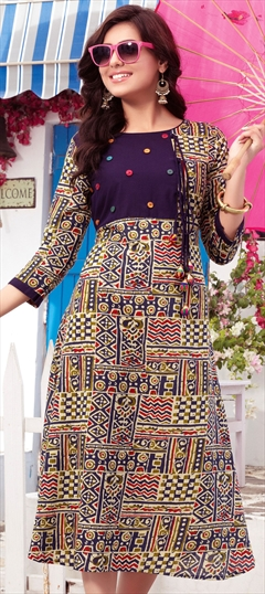 904453 Multicolor  color family Printed Kurtis in Cotton fabric with Printed work .