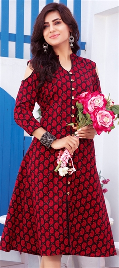 904454 Black and Grey, Red and Maroon  color family Printed Kurtis in Cotton fabric with Printed work .