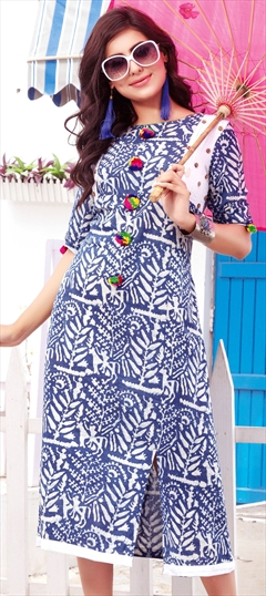 904457 Blue  color family Printed Kurtis in Cotton fabric with Printed work .