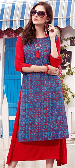 904460 Blue, Red and Maroon  color family Printed Kurtis in Cotton fabric with Printed work .