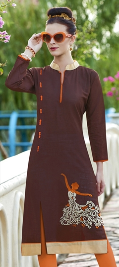 904513 Beige and Brown  color family Cotton Kurtis in Cotton fabric with Machine Embroidery, Resham, Thread work .