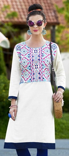 904514 White and Off White  color family Cotton Kurtis in Cotton fabric with Machine Embroidery, Resham, Thread work .