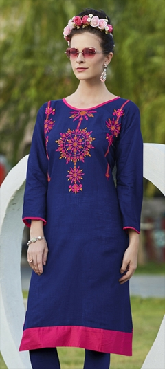 904515 Blue  color family Cotton Kurtis in Cotton fabric with Machine Embroidery, Resham, Thread work .