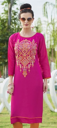 904516 Pink and Majenta  color family Cotton Kurtis in Cotton fabric with Machine Embroidery, Resham, Thread work .