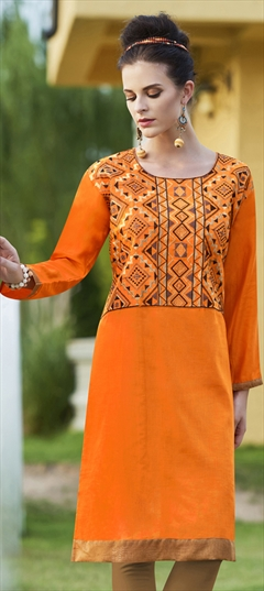 904517 Orange  color family Cotton Kurtis in Cotton fabric with Machine Embroidery, Resham, Thread work .