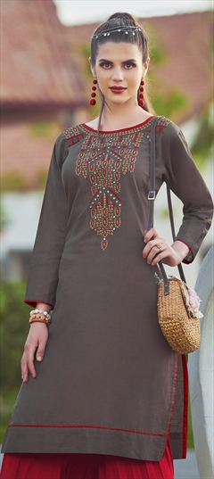 904524 Beige and Brown  color family Cotton Kurtis in Cotton fabric with Machine Embroidery, Resham, Thread work .