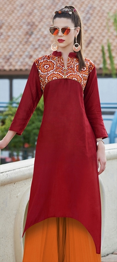904525 Red and Maroon  color family Cotton Kurtis in Cotton fabric with Machine Embroidery, Resham, Thread work .