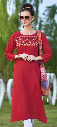 904528 Red and Maroon  color family Cotton Kurtis in Cotton fabric with Machine Embroidery,Resham,Thread work .