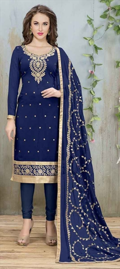 904897 Blue  color family Party Wear Salwar Kameez in Faux Georgette fabric with Lace, Machine Embroidery, Thread, Zari work .