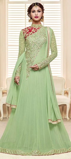 905249 Green  color family Anarkali Suits in Georgette fabric with Machine Embroidery, Thread work .