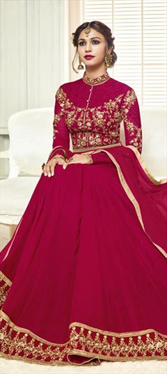 905250 Pink and Majenta  color family Anarkali Suits in Georgette fabric with Machine Embroidery, Thread work .