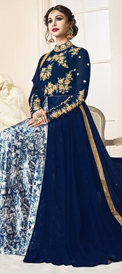 905251 Blue  color family Anarkali Suits in Georgette fabric with Machine Embroidery,Thread work .