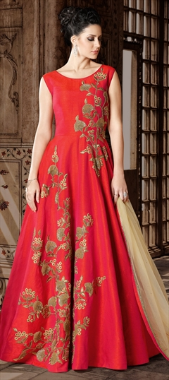 905680: Red and Maroon color Salwar Kameez in Art Silk fabric with Lace, Machine Embroidery, Sequence, Thread, Zari work