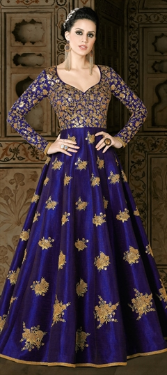 905682 Blue  color family Anarkali Suits in Art Silk fabric with Lace, Machine Embroidery, Sequence, Thread, Zari work .