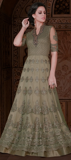 905684 Black and Grey  color family Anarkali Suits in Net fabric with Machine Embroidery,Moti,Resham,Thread work .