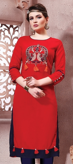 905893 Red and Maroon  color family Cotton Kurtis in Cotton fabric with Machine Embroidery, Resham, Thread work .