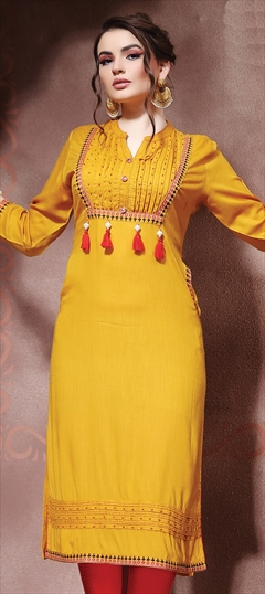 905897 Yellow  color family Cotton Kurtis in Cotton fabric with Machine Embroidery, Resham, Thread work .