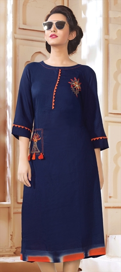905899 Blue  color family Cotton Kurtis in Cotton fabric with Machine Embroidery, Resham, Thread work .