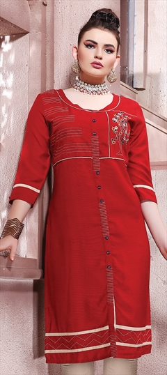 905900 Red and Maroon  color family Cotton Kurtis in Cotton fabric with Machine Embroidery, Resham, Thread work .