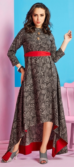 906298 Multicolor  color family Printed Kurtis in Rayon fabric with Printed work .