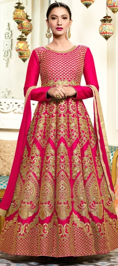 906429 Pink and Majenta  color family Anarkali Suits in Art Silk fabric with Machine Embroidery, Thread, Zari work .