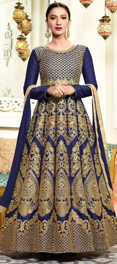 906431 Blue  color family Anarkali Suits in Art Silk fabric with Machine Embroidery, Thread, Zari work .