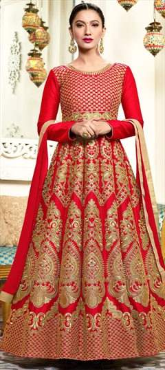 906432 Red and Maroon  color family Anarkali Suits in Art Silk fabric with Machine Embroidery, Thread, Zari work .