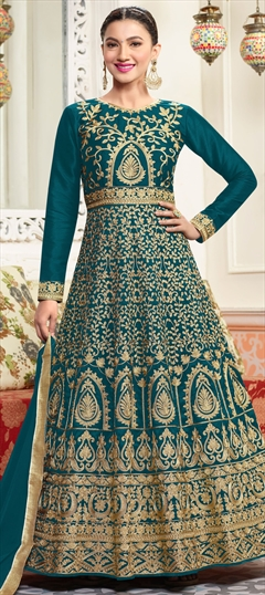 906433 Blue  color family Anarkali Suits in Art Silk fabric with Machine Embroidery, Thread, Zari work .