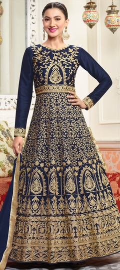 906434 Blue  color family Anarkali Suits in Art Silk fabric with Machine Embroidery, Thread, Zari work .