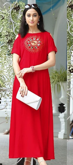 907342 Red and Maroon  color family Long Kurtis in Rayon fabric with Machine Embroidery, Thread work .