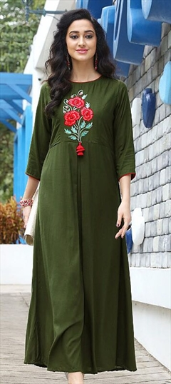 907344 Green  color family Long Kurtis in Rayon fabric with Machine Embroidery, Thread work .