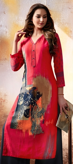 907372 Red and Maroon  color family Printed Kurtis in Rayon fabric with Printed work .
