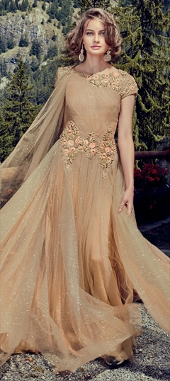 US 10700 6955 You Save 3745 Beige And Brown Color Gown