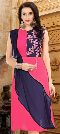 907747 Blue, Pink and Majenta  color family Kurti in Faux Georgette fabric with Cut Dana work .