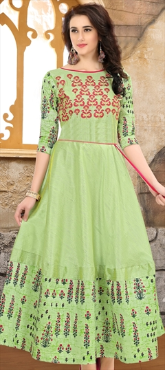 907749 Green  color family Anarkali style Kurtis in Silk fabric with Machine Embroidery,Thread,Zari work .