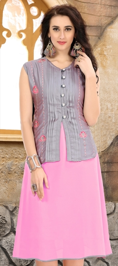 907750 Black and Grey,Pink and Majenta  color family Kurti in Faux Georgette fabric with Machine Embroidery,Thread,Zari work .