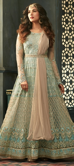 908351 Blue  color family Bollywood Salwar Kameez in Net fabric with Lace, Machine Embroidery, Resham, Stone, Thread, Zari work .