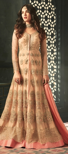 908352: Bollywood, Party Wear Beige and Brown color Salwar Kameez in Net fabric with Slits Embroidered, Resham, Sequence, Stone, Thread, Zari work